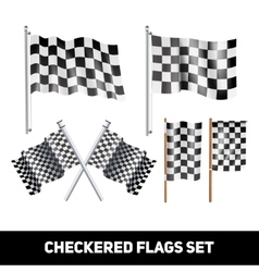 Checkered Flags Decorative Icon Set vector image vector image