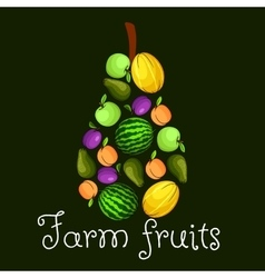 Farm fruits flat icons in shape of pear emblem vector image