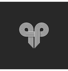 Modern Logo Initials QP letter together thin vector image