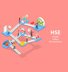 3d isometric flat concept hse health vector image