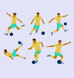 6 pose soccer flat design vector