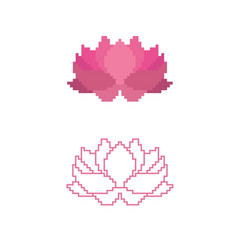 a lotus in a triangle pixe vector image