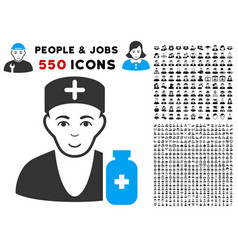 Apothecary doctor icon with bonus vector