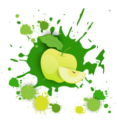 Apple fruit logo watercolor splash design fresh vector