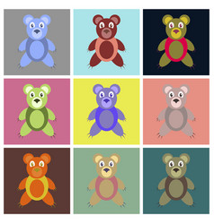 Assembly flat icons toy bear vector