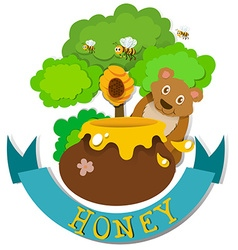 Banner design with bear and honey vector image
