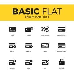 Basic set credit card icons vector