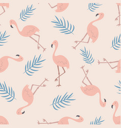 beach tropical seamless pattern with flamingos vector image