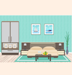 bedroom interior design with furniture including vector image