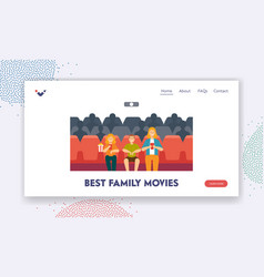best family movies landing page template young vector image