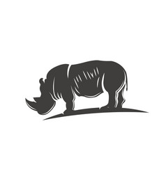 black rhino silhouette isolated vector image