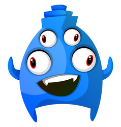 blue smiling monster with four eyes on white vector image
