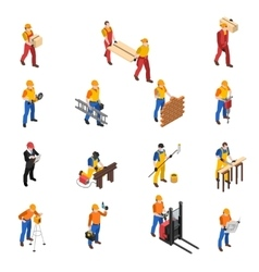 Builders Construction Workers Isometric Icons vector