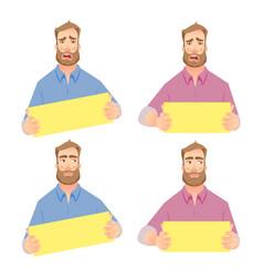 businessman holding blank sign - set vector image