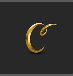 calligraphic golden letter c curl monogram logo vector image