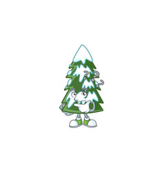 Cartoon christmas tree snow with confuse face vector