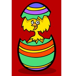 chick in easter egg cartoon vector image