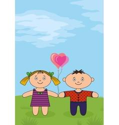 Children on meadow vector image