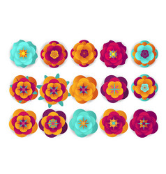 Chinese decorative icons flowers and chinese vector
