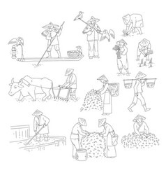 Chinese farmers and fishermen black white vector