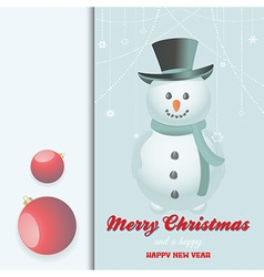 Christmas snow man invite vector image