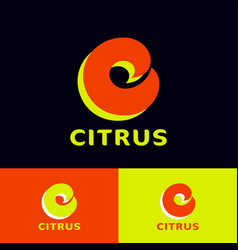 citrus logo vitamin c icon letter curled elements vector image