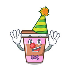 clown coffee cup mascot cartoon vector image
