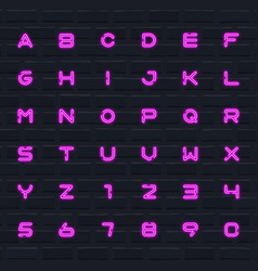 color neon english alphabet set letters and vector image