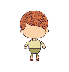 colorful caricature of faceless cute boy with vector image
