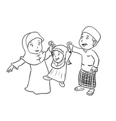 Coloring happy muslim family vector