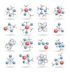 Colourful 3d molecules structures vector