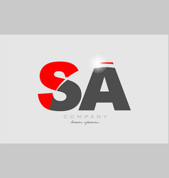 Combination letter sa s a in grey red color vector
