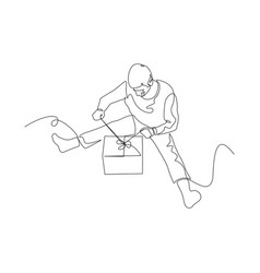 continuous one line man on floor opens a gift vector image