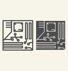 cpu line and glyph icon microprocessor vector image