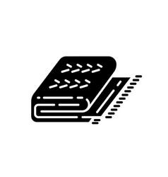Cuddly blanket black glyph icon vector