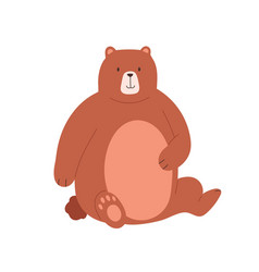 cute grizzly bear sitting and holding paw on its vector image