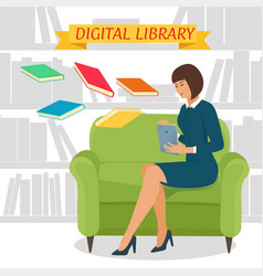 Digital library concept vector