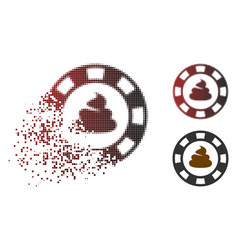 Dissolving pixel halftone shit casino chip icon vector