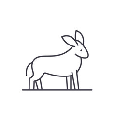 donkey line icon concept donkey linear vector image