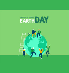 earth day of young people celebration vector image