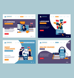education landing web trainings language courses vector image