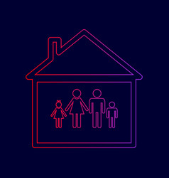 family sign line icon with vector image