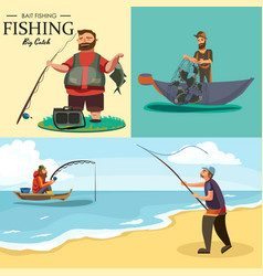 Fisherman in rubber boots throws a fishing rod vector