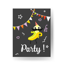 fruit holiday party banner with banana in party vector image
