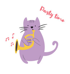funny cat playing horn vector image