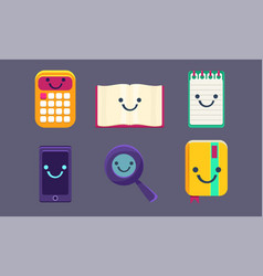 funny cute school stationery characters set vector image
