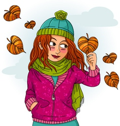 girl in autumn vector image vector image