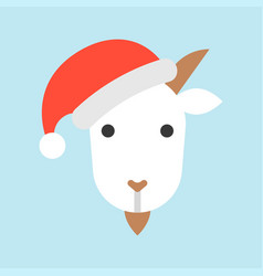 goat wearing santa hat avatar icon vector image
