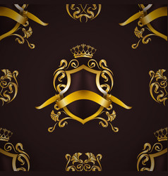 Golden royal shield with floral elements vector