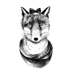 hand drawn dressed up fox vector image vector image